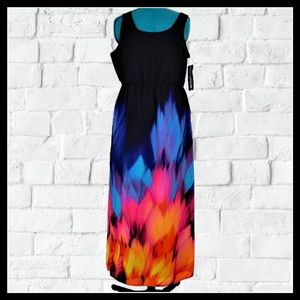 "NWT Nina Leonard ""Northern Lights"" Maxi Dress 12"